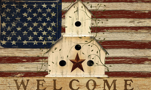 Americana Birdhouse Welcome Door Mat Image