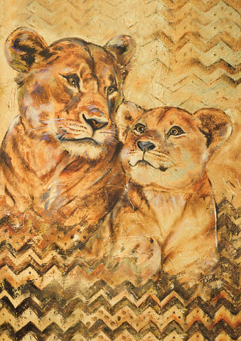 Hand Painted Lioness And Cub Image 1