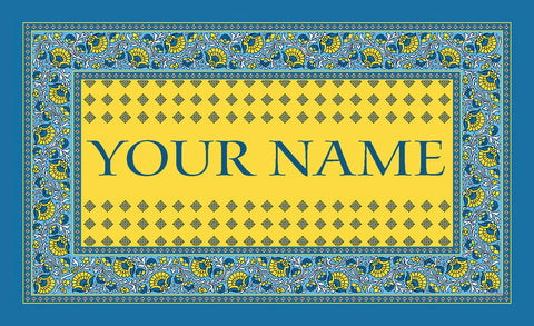 """French Paisley Yellow"" Personalized Mat (18 x 30"")"