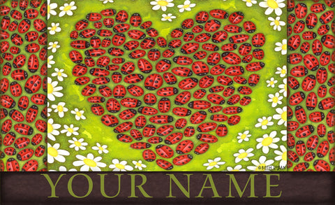 Ladybug Heart Personalized Door Mat Image