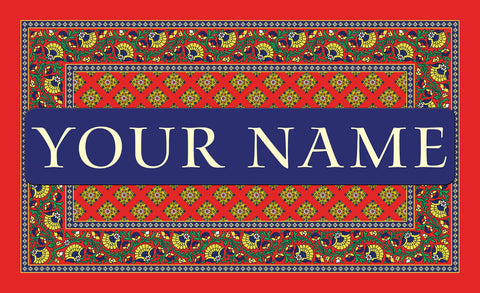 French Paisley Red Personalized Mat Image
