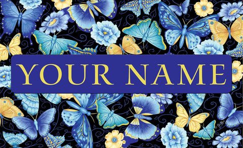 Blue Butterfly Personalized Mat Image