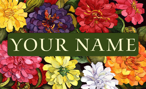 Zippy Zinnias Personalized Mat Image