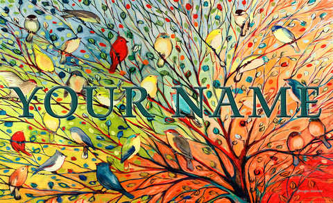 Tree Birds Personalized Mat Image