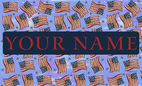 Waving Flags Personalized Mat Image