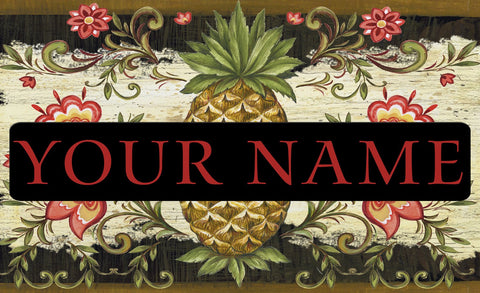 Pineapple and Scrolls Personalized Mat Image