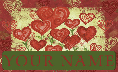 Garden Hearts Personalized Mat Image