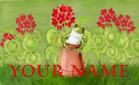 Potted Frog Personalized Mat Image