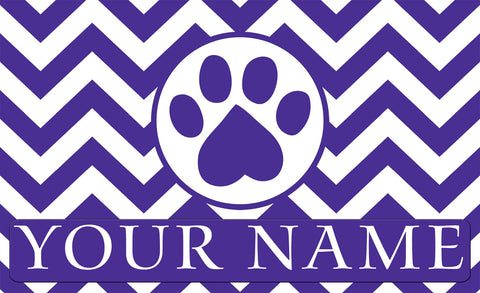 Chevron Paw Personalized Mat Image