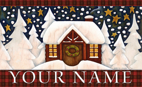 Snowy Cabin Personalized Mat Image