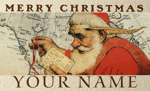 Santa At The Map Personalized Mat Image