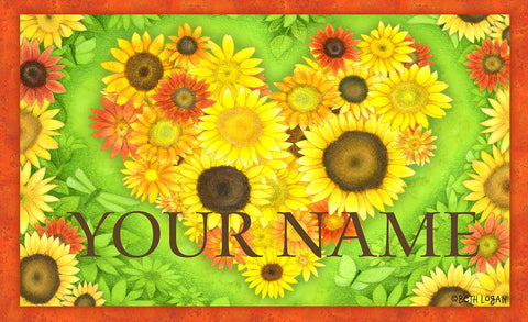 Sunflower Heart Personalized Mat Image