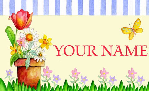Potted Welcome Personalized Mat Image