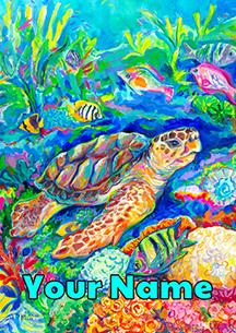 Loggerhead Turtle Personalized Garden Flag image