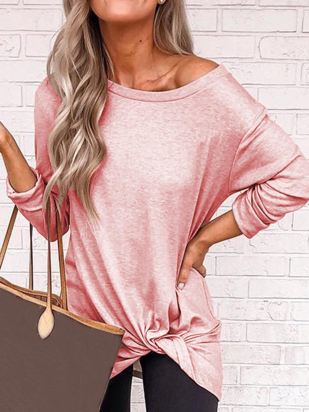 Iztzo Plus Size Casual Long Sleeve Solid Top