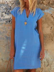 Iztzo V-Neck V-Neck Daytime Solid Dress
