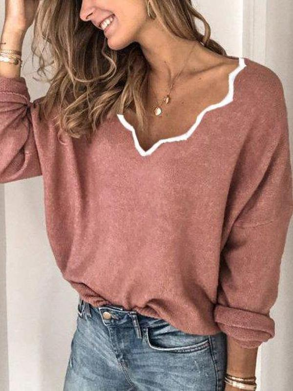 Iztzo Casual Plain Long Sleeve Sweater