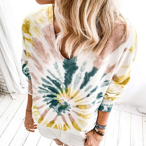 Iztzo Tie Dye V-Neck Long Sleeve Tee