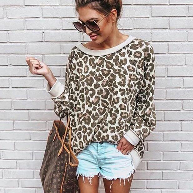 Iztzo Fashion Loose Leopard Long Sleeve Round Neck Sweatshirt