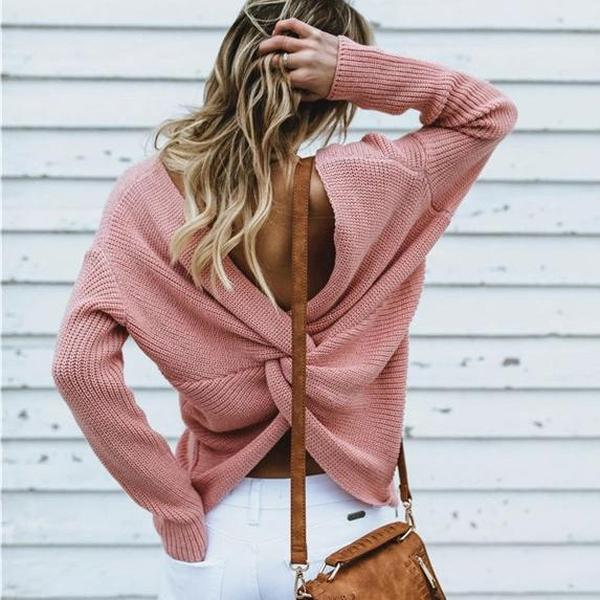 Iztzo Csual Long Sleeve Backless Knitted Sweater