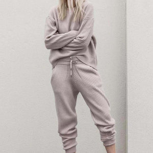 Iztzo Crew Neck Long Sleeve Knitted Plain Two-Piece Set