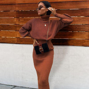 Iztzo High Neck Long Sleeve Two-Piece Maxi Dress