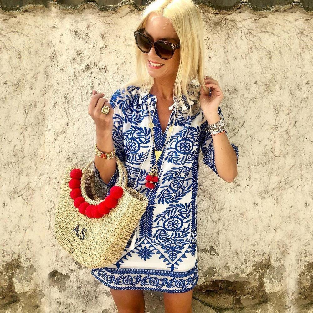 Iztzo Fond Of You Blue Printed Half Sleeve Shift Dress