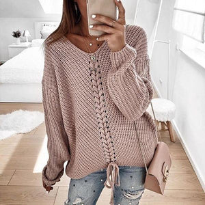 Iztzo Casual Loose V-Neck Knit Sweater