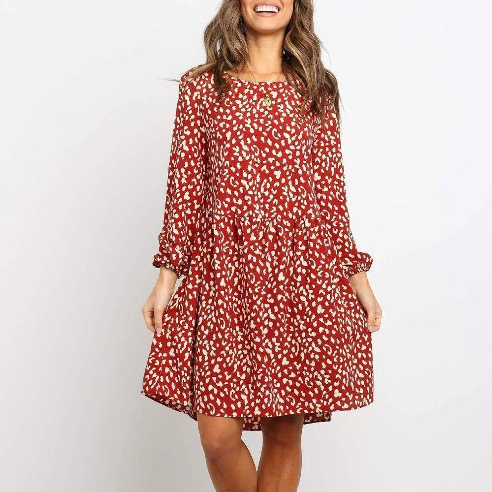 Print Round Neck Long Sleeve Mini Dress