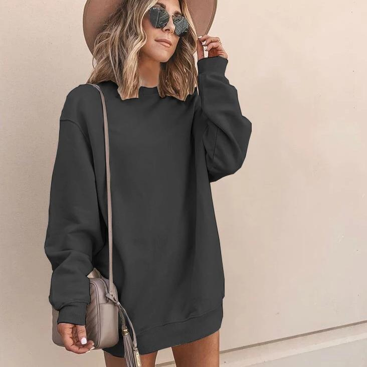 Iztzo Casual Loose Round Neck Long Sleeve Mini Dress