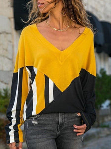 Iztzo Color Block Long Sleeve Tee Top