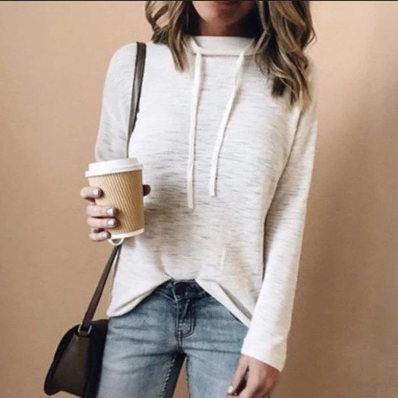 Iztzo Casual Cowl Neck Long Sleeve Plain Top