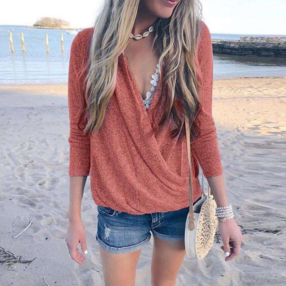 Iztzo V-Neck Long Sleeve Tee Top