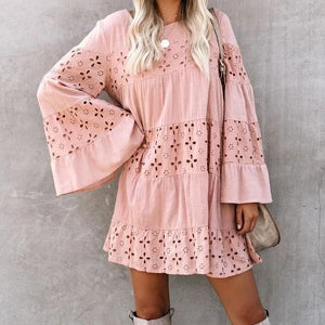 Cute Long Sleeve Hollow-Out Mini Dress