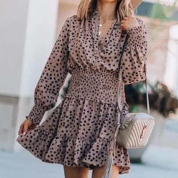 Iztzo Polka Dot V-Neck Long Sleeve Mini Dress