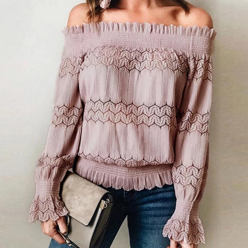 Sexy Off Shoulder Long Sleeve Blouse
