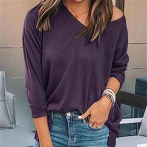 Iztzo Casual Long Sleeve V-Neck Sweater