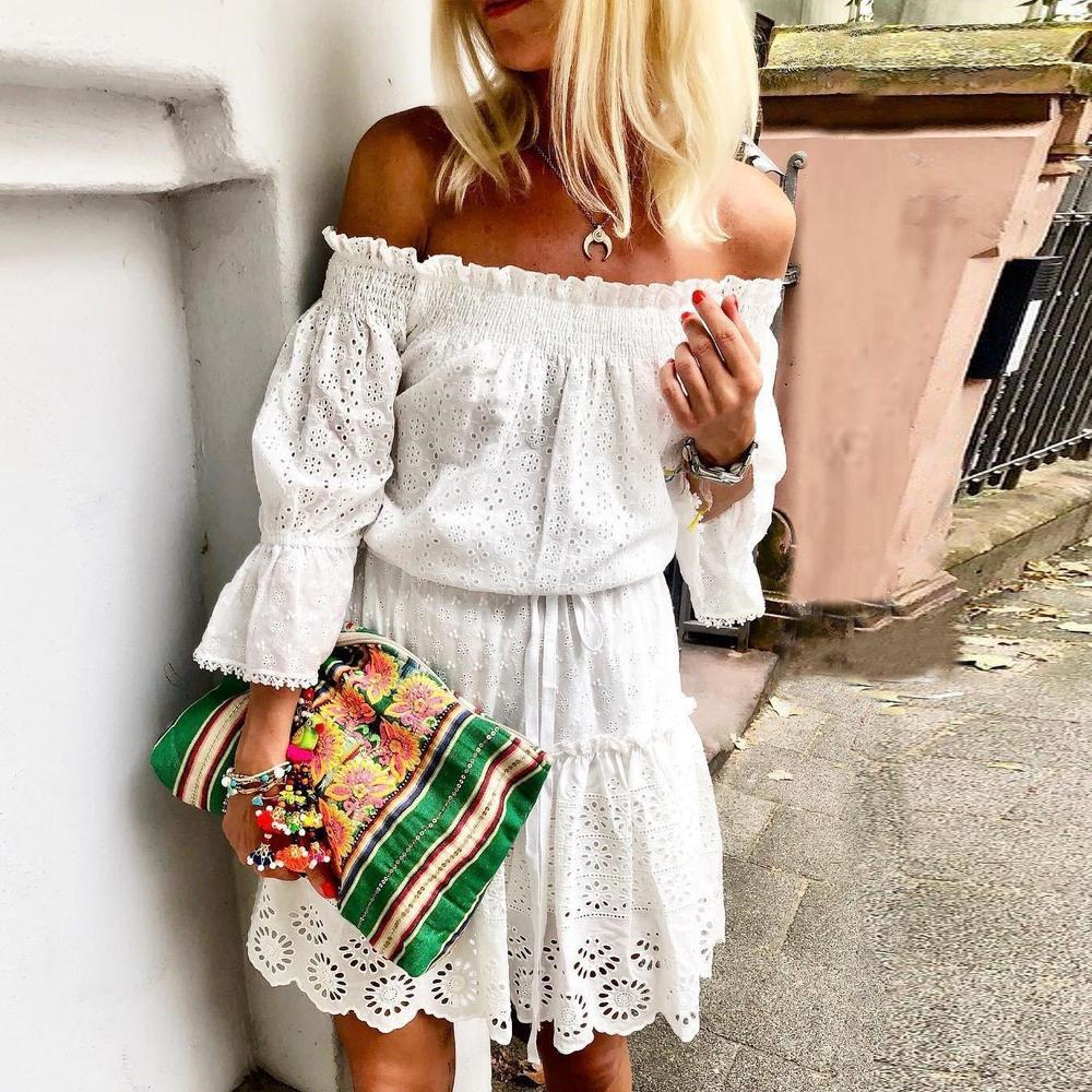 Iztzo White Off The Shoulder Lace Mini Dress