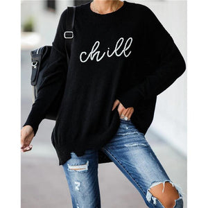 Casual Loose Round Neck Long Sleeve Letter Sweater