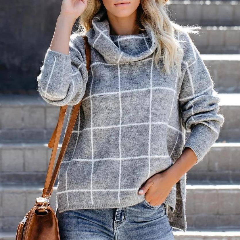 Iztzo Classy Turtle Neck Long Sleeve Plaid Sweater