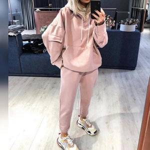 Iztzo Sporty Casual Long Sleeve Hooded Sweatshirt Two Piece Set