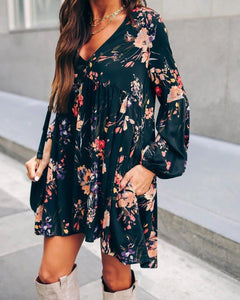 Vintage V-Neck Long Sleeve Print Mini Dress