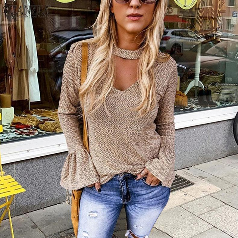 Iztzo Fashion Round Neck Long Sleeve Blouse