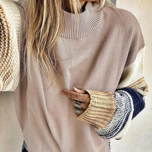 Iztzo Pink Patchwork Long Sleeve Pullover Sweater