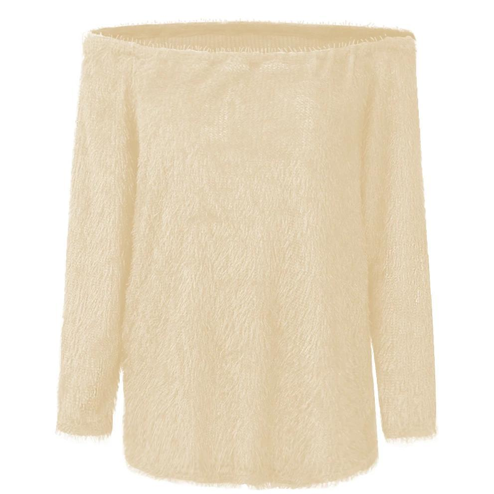 Iztzo Fashion Long Sleeve Off The Shoulder Sweater