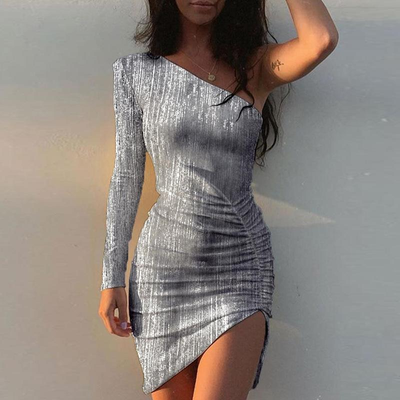 Iztzo Sexy Silver One Shoulder Long Sleeve Slim Fit Mini Dress