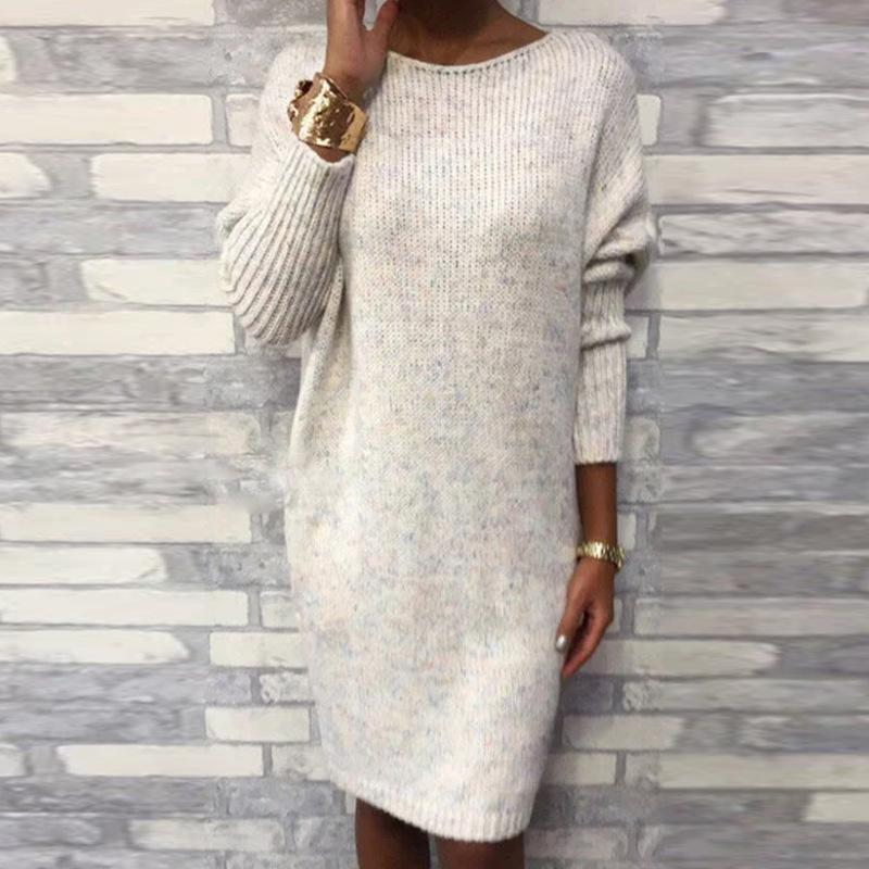 Iztzo Round Neck Loose Casual Mini Sweater Dress