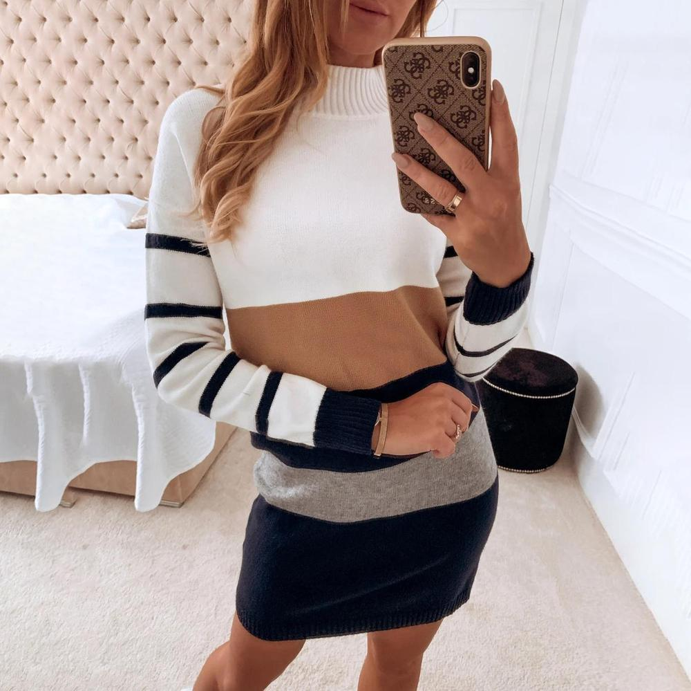 Iztzo Round Neck Long Sleeve Striped Sweater Dress