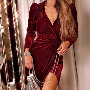 Iztzo V-Neck Wrap Ruched Dress