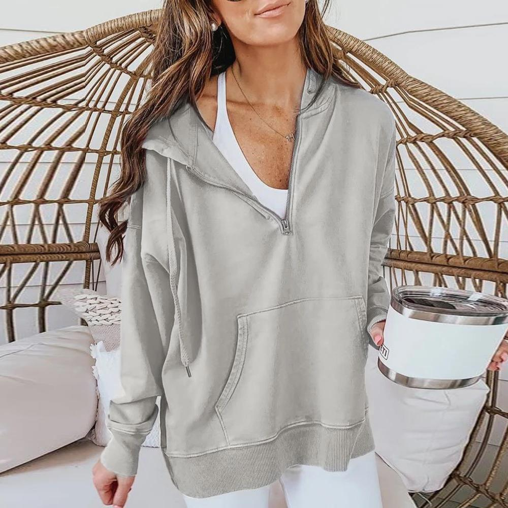 Iztzo Grey Half Zipper Long Sleeve Hoodie